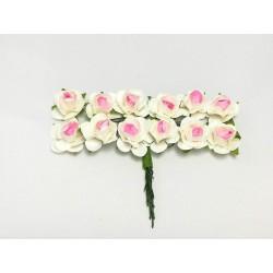 Róża papierowa biało-różowa